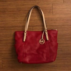 Michael Kors Red Zipper Tote